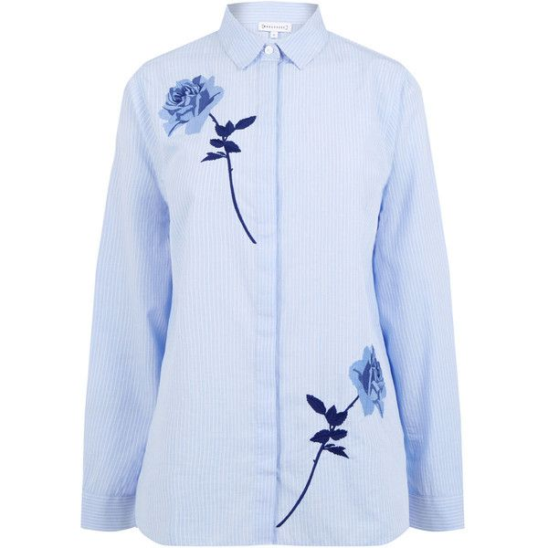 ROSE EMBROIDERED STRIPE SHIRT ($44) ❤ liked on Polyvore featuring tops, blue striped shirt, stripe shirt, striped shirts, stripe top and blue stripe shirt