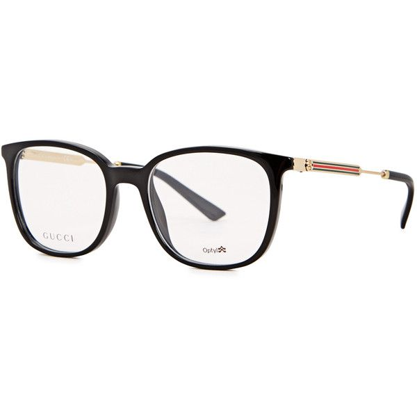Gucci Black D-frame optical glasses ($275) ❤ liked on Polyvore featuring accessories, eyewear, eyeglasses, gucci glasses, gucci eyewear, acetate glasses, striped glasses and gucci eyeglasses