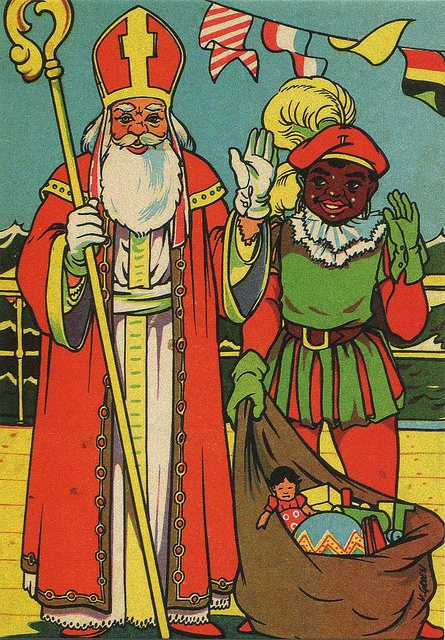 NL-896754 Vintage card with 'Sinterklaas en Zwarte Piet' waving by Otomodachi, via Flickr