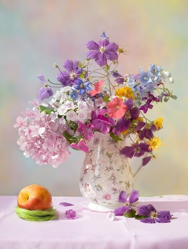 Dainty bunch.  Who is the photographer?.  This lovely still life is just waiting to be painted.