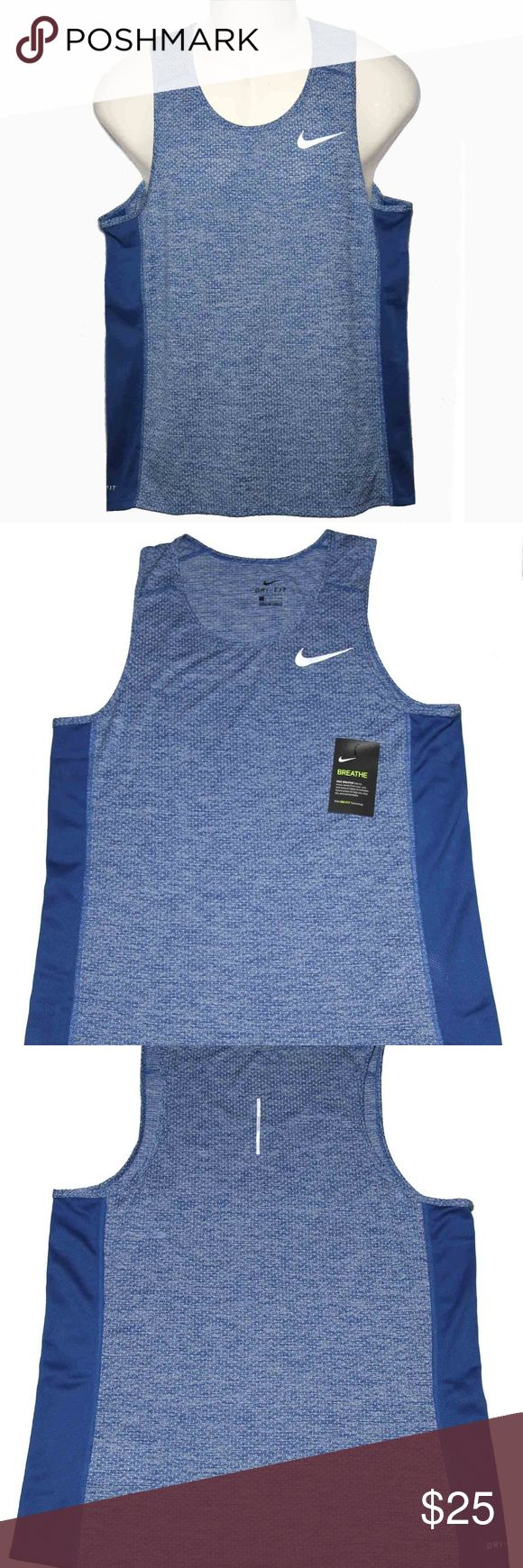 "Mens Nike Tank Top Shirt Blue Gray Size M Men's new, with tags, Nike ""Breathe"" Dri-Fit tank top Size Medium Blue and gray 100% polyester, Dri-Fit fabric (moisture wicking properties) Screen printed Nike Swoosh emblem on the front Nike Shirts Tank Tops"