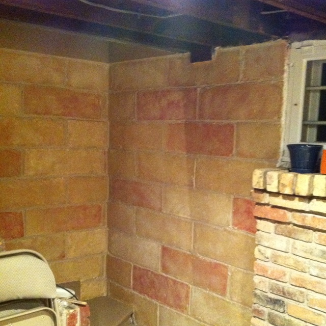 Painted Ugly Old White Cinder Blocks To Match The Existing Bricks Made By Moriah In 2018 Pinterest Block Walls Wall And Bat