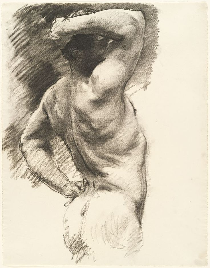 John Singer Sargent, Male Nude Seen from Behind, Arm Raised Over Head