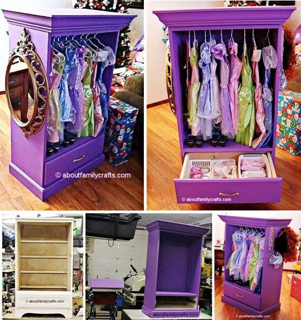 For those of you who have little girls, this is such a cute DIY project. An old dresser turned into an dress up armoire