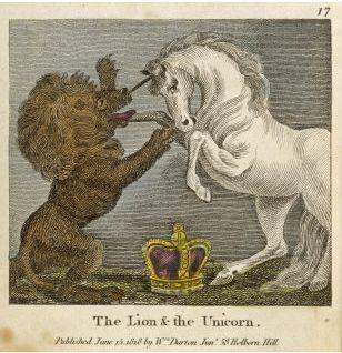 The Secret Life of Unicorns - Scotland - unicorn, Lion -England - this tapestry is in The Last Unicorn.  :)