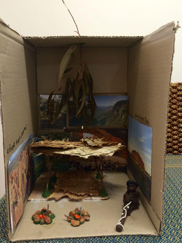 Kids Diorama With Details: Australian Aboriginal Shelter Diorama. Grade 4 History