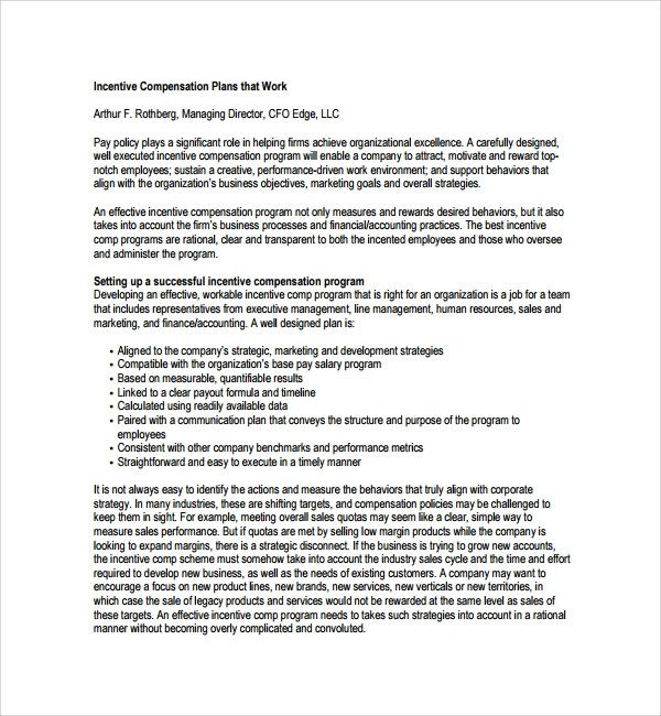 Incentive Compensation Plan Template Elegant Sample Pensation Plan Template 12 Free Documents Incentives For Employees How To Plan Employee Incentive Programs