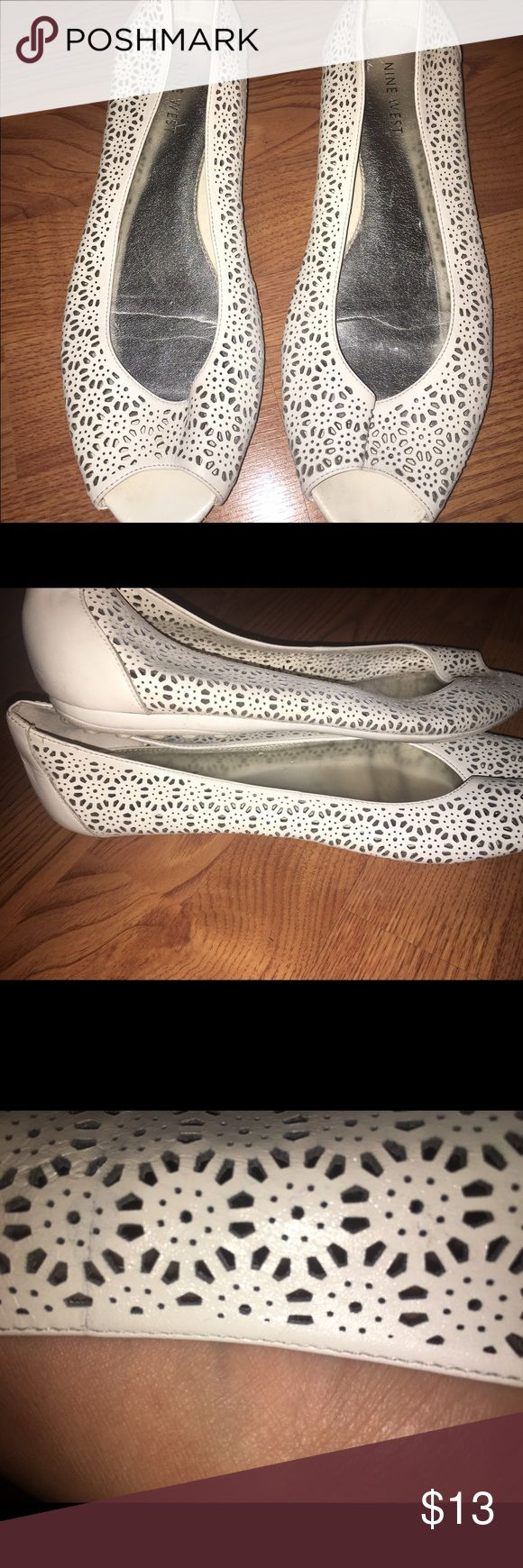 Nine West Peep Toe flats Very cute & comfy! Worn a few times.Priced to sell! I love offers & possible trades for certain items  Nine West Shoes Flats & Loafers
