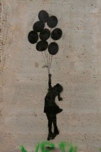 banksy art in west bank: on the wall.  I almost cried.