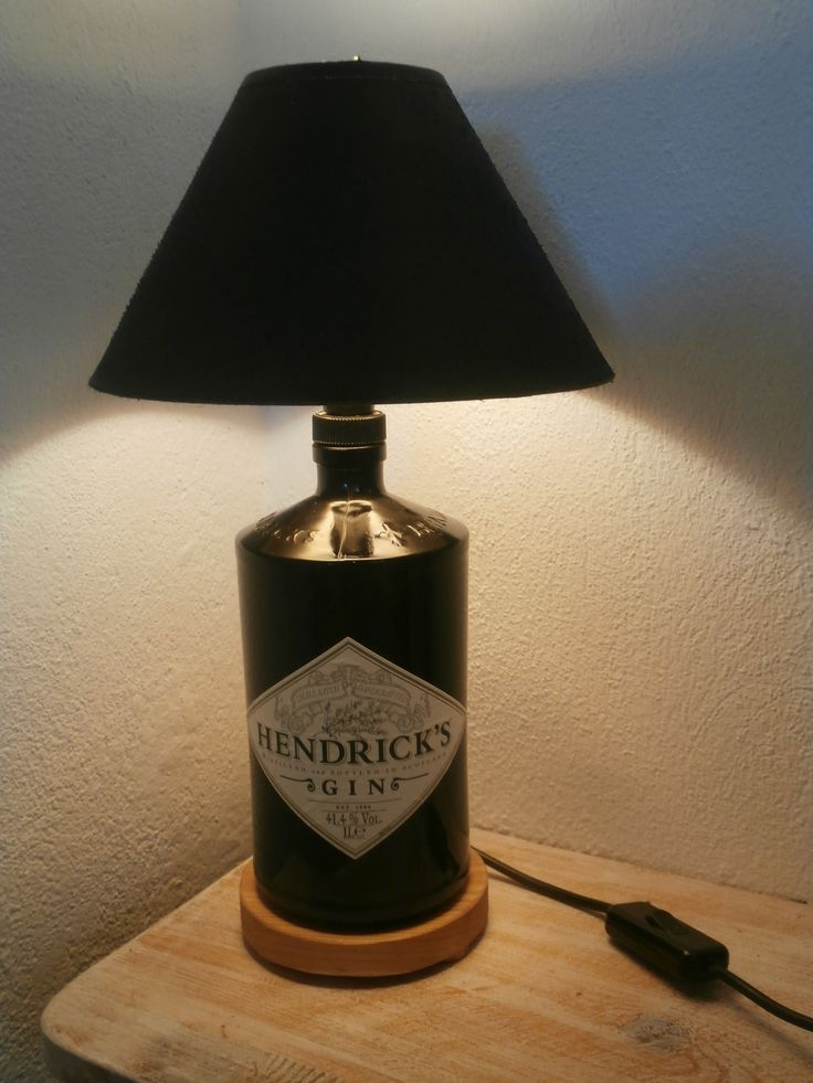Upcycled Hendrick's gin bottle lamp.