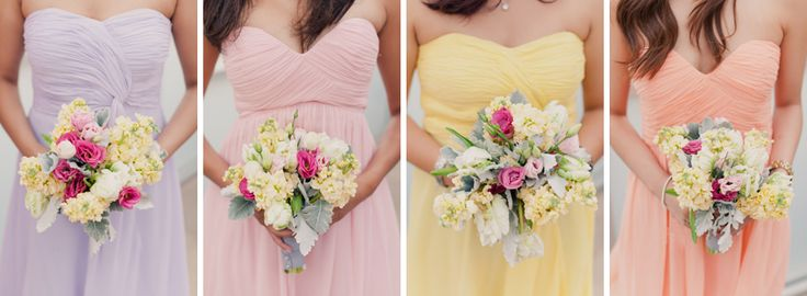 Lovely pastel pink and orange bridesmaids dresses