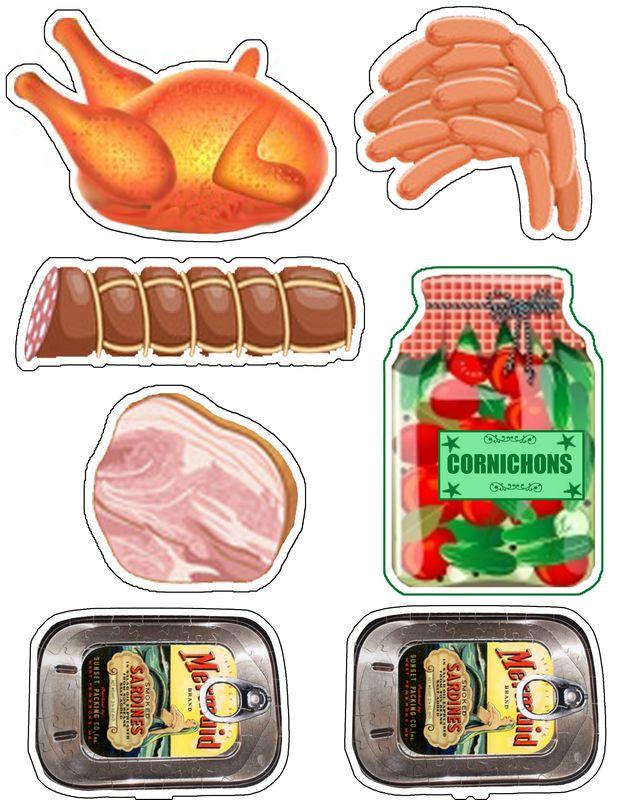 Lihatuotteita ja säilykkeitä kauppaleikkiin.