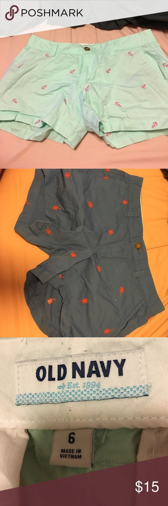 shorts old navy light green with pink anchors & blue with orange palm trees great for golfing or going out on the boat Old Navy Shorts Bermudas