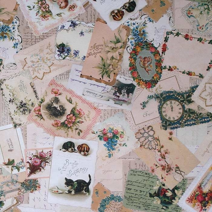 Ephemera & Calling Card Collage Italian Paper