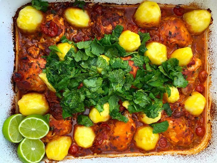 Baked Chicken with Agria Potatoes, Tomatoes and Fresh Herbs