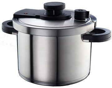 Features/Specifications Product code: RHALPHA Pressure cooker system Thermal sandwich capsule base with non-porous aluminium core 18/10 stainless steel pot Modular cooking system with practical, one-hand maneuvering Quicker preparation of food due to high pressure Healthier preparation due to refining in a closed system 6L Capacity which fits all stove types Tempered glass lid included