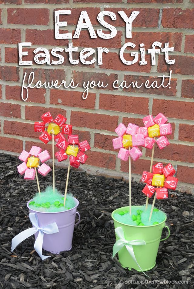 Easy Spring craft, perfect for Easter or Mother's Day with Skittles and Starburst. DIY gift on the fashion and parenting blog Spit Up is the New Black.