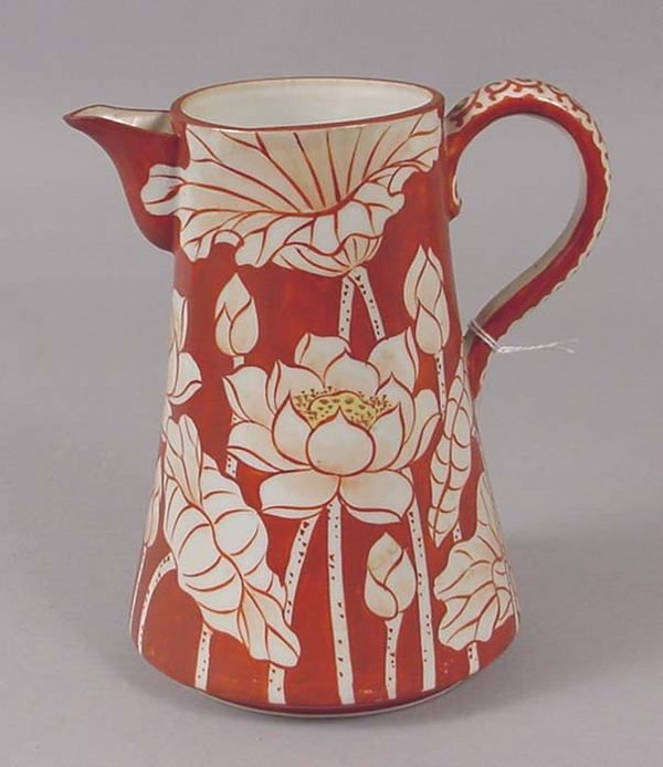 Asian Lotus Blossom decorated pitcher.