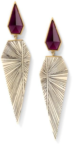 Fossilized woolly mammoth and hand carved scrimshaw earrings with rhodolite, 18 carat recycled yellow gold
