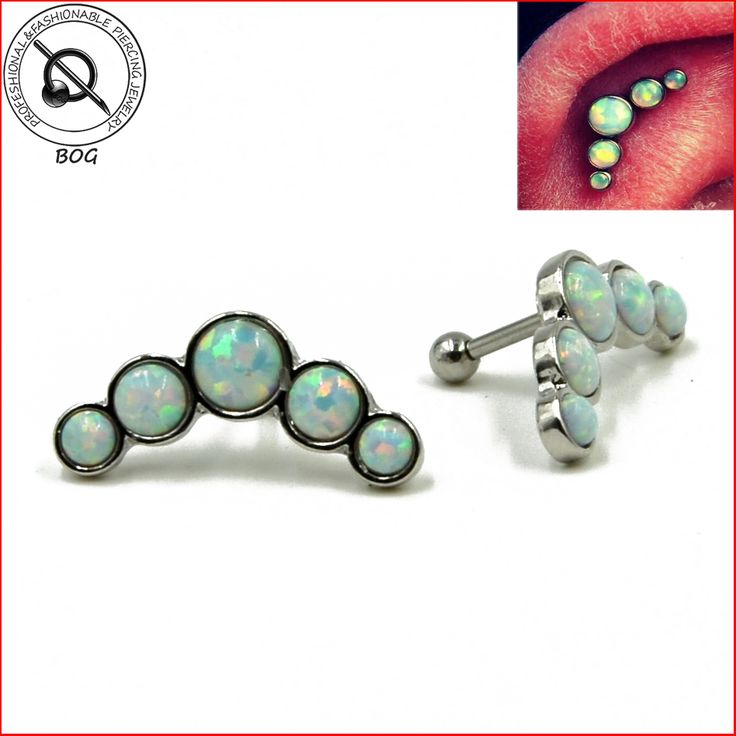 1PC Cartilage Piercing Surgical Steel Barbell With Opal Stone Ear Helix Tragus Earing 16g Body Jewelry