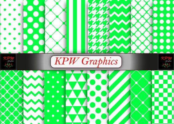 Assorted Patterns Green Digital Printable Scrapbook by KPWgraphics