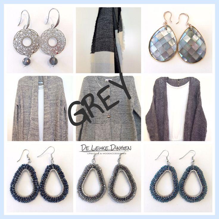 G R I J S  Niet zwart niet wit maar grijs... Makkelijke kleur om te combineren! www.deleukedingen.nl #grijs #zilver #oorbel #vest #trui #blouse #trui #sjaal