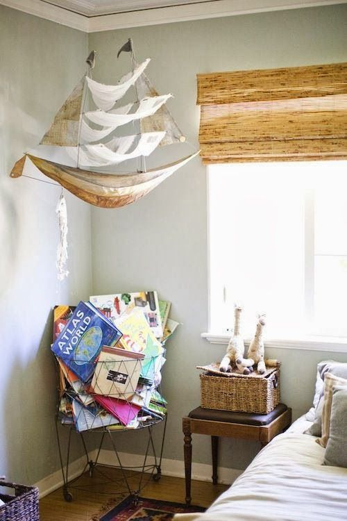 hanging ship, footstool nightstand, wire basket book holder, bamboo shade