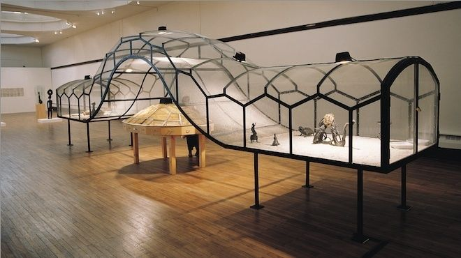 Huang Yong Ping – 'Ceinture' 1993 – a controversial and often censored work where live cockroaches, tarantulas, snakes and scorpions are crawling around the room in a large transparent cage