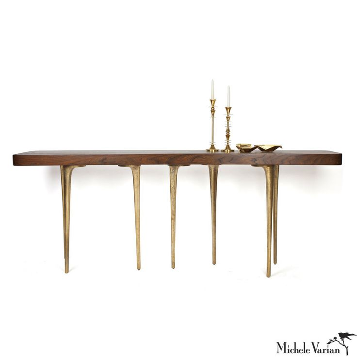 Elm Wood Inlay Console Table With Cast Aluminum Base And Brass Plating. The  Base Can