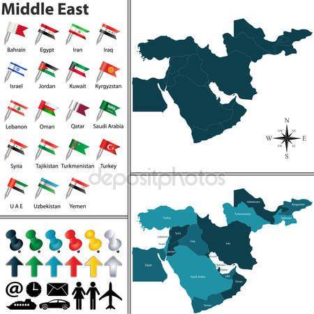 Télécharger - Carte politique du Moyen-Orient — Illustration #78291346