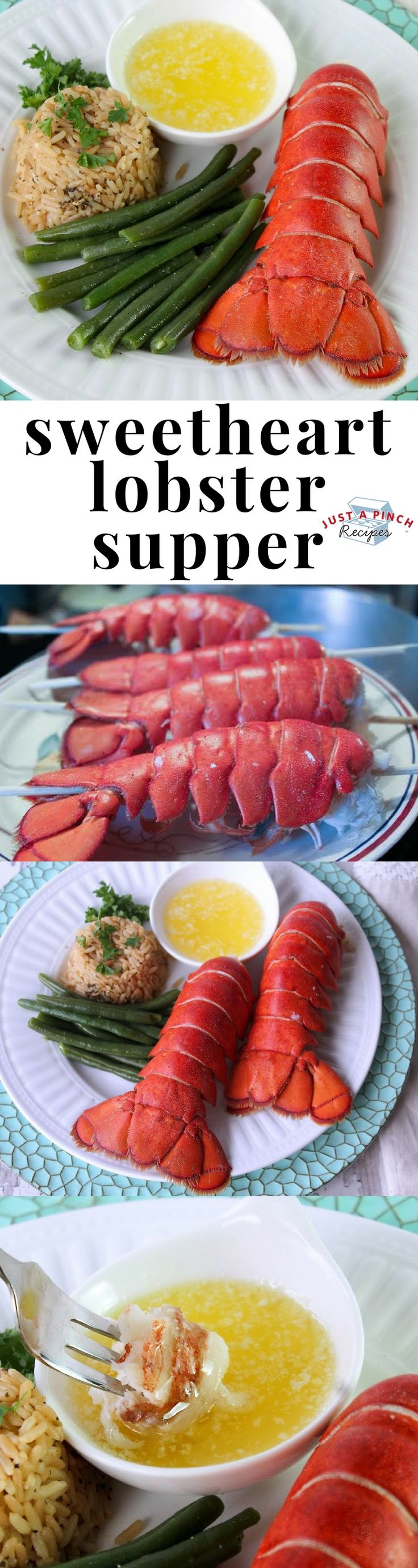 Homemade lobster dinner recipe with herb rice and green beans is a delicious Valentine's Day dinner recipe. #lobster #dinnertime #dinnerrecipes #valentinesday #valentinesdaydinner #whatsfordinner #lobsterrecipe