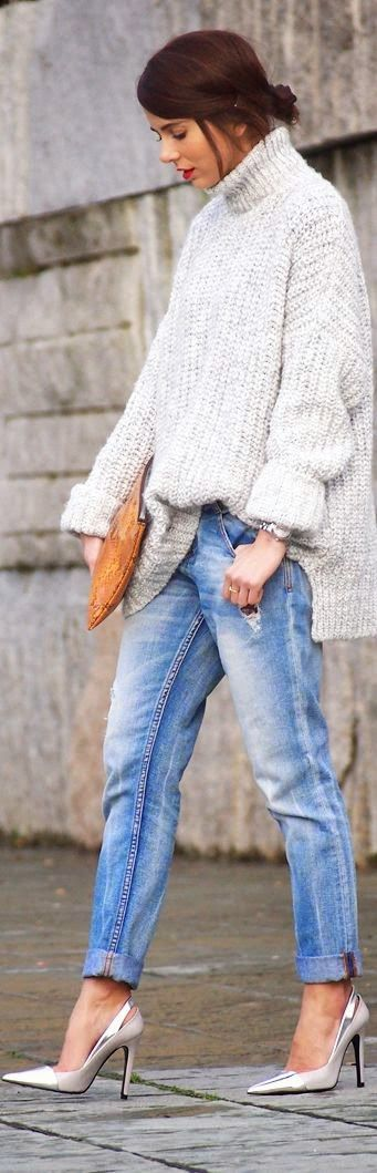 Cozy Oversized Sweater With Loose Jeans and Ankle Strap Pumps