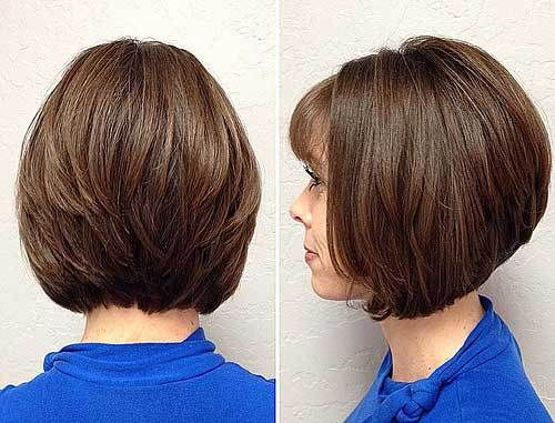 """cute layered bob haircut with bangs -- To be honest, I REALLY, REALLY like this style!! It's kinda """"momish"""", but cute. I keep debating bangs like this too; it would keep my hair out of my face (and keep me from having to feel like I have to pin back my hair.) I like the rounded sides and layers to the back. The length is good on the front too...wish there was a front-facing picture of this! :)"""