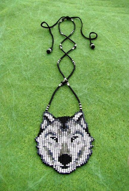 Native American Wolf Seed Beaded Wolf by HANWImedicineArt on Etsy