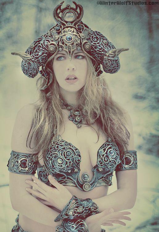 Karnaya helmet, winter Goddess bra set, by Organic Armor, photo Winterwolf Studios