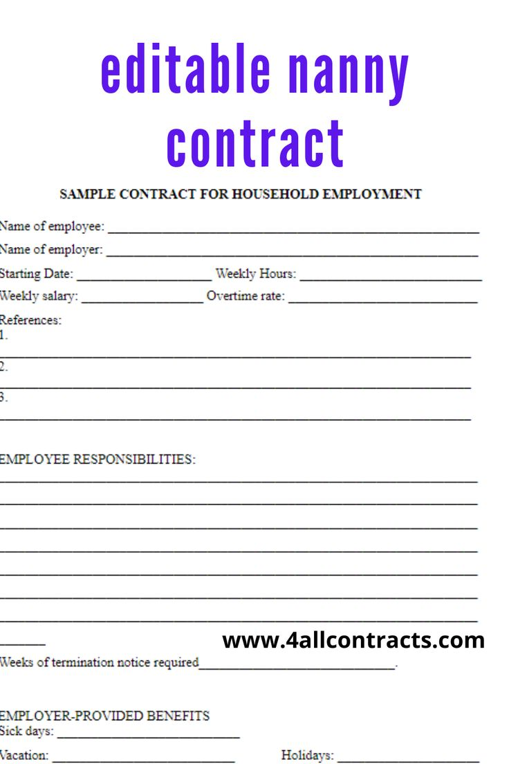Editable Babysitter Template In Word To Edit And Print In 2021 Nanny Contract Template Nanny Contract Contract Template Part time nanny contract template