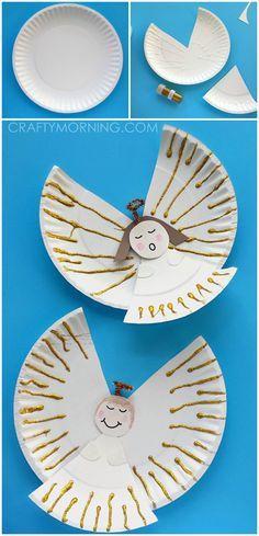 Engel Basteln aus Papptellern, süße Bastelidee für Kinder im Advent, Weihnachten, Basteln