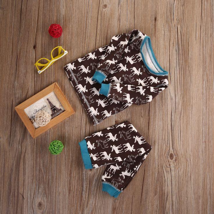 Hot sale Cotton Baby Girl Boy Deer Pajamas Set Sleepwear Nightwear Christmas Outfits Clothes UK Printing