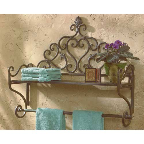 Orleans Fl Iron Scroll Wall SHELF Towel Bar Bathroom