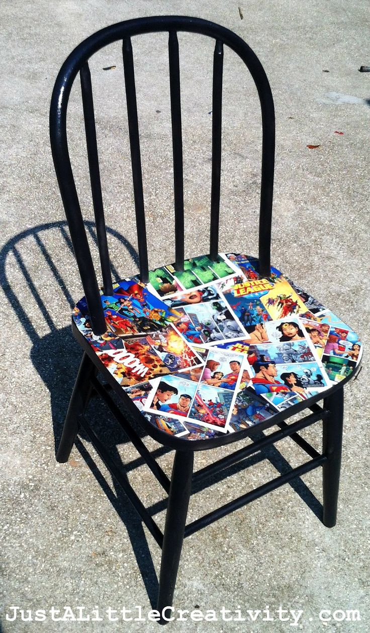 Kapow! Comic book chair makeover: comics, spray paint, & Mod Podge. This would be great in a boys room. There are so many possibilities for this idea; sheet music, old story books, text books etc.