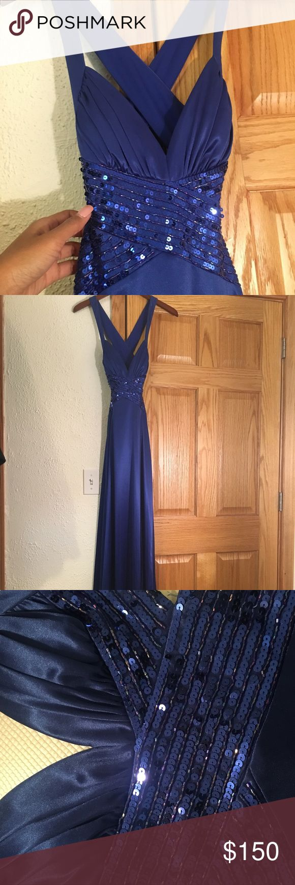 Gorgeous blue open back dress with beading Heart shaped front, x-shaped, peek-a-boo sides, cross in the back. Stunning, body contouring. Brand new. Stored in dust bag. Dresses Prom