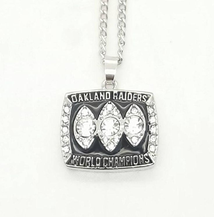 Just now avialable High Quality 1983... check it out 😉is so cool , don't miss it http://gadgetjoes.com/products/high-quality-1983-oakland-raiders-super-bowl-world-championship-necklace?utm_campaign=social_autopilot&utm_source=pin&utm_medium=pin  free shipping this is great just get it 😃.