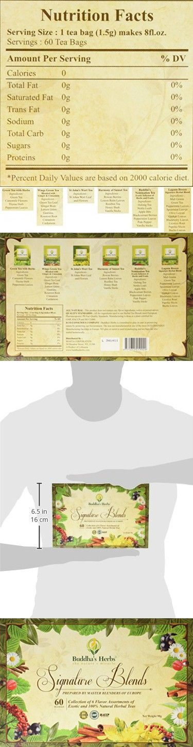 Buddha's Herbs Premium Tea Sampler - Herbal Tea Sampler - 6 Flavor Tea Gift Set - Tea Bags Tea Gifts Tea New Year Gifts, 60 Count
