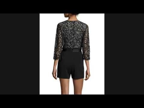 SALE!! Erin Fetherston Bardot 3/4-Sleeve Combo Lace Romper