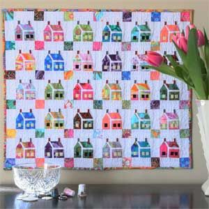 """~free pattern~ Miniature House Quilt Pattern full view, Kaffe fabrics.  """"Give it a try from your own favorite scraps""""."""