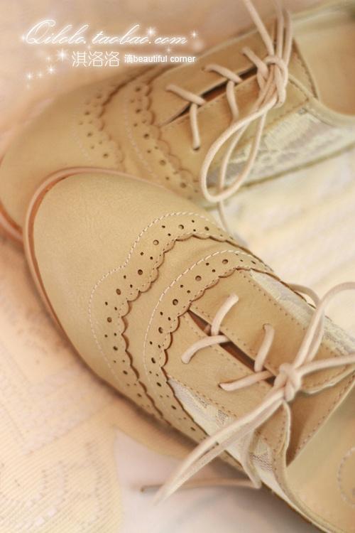 Vintage lace Oxford Shoes Women tie Lockes shoes temperament Sen School of carving the UK wind
