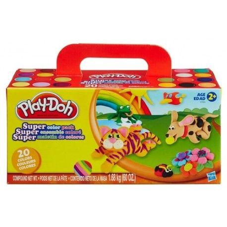 Hasbro Play-Doh Super Color Pack. Dit starterpakket biedt veel creatieve mogelijkheden! Kleine handjes kunnen er al snel mee overweg. De set omvat 20 potjes boetseerklei.