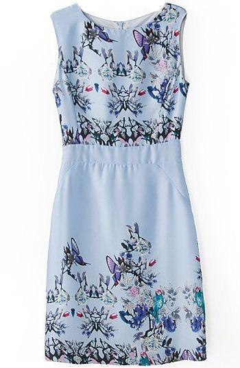 Blue Sleeveless Butterfly Floral Print Dress US$29.67
