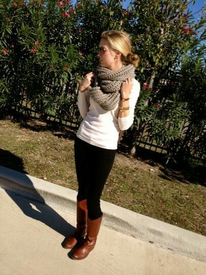Early fall outfit with an infinity scarf, burnished cognac boots, and a white 3/4 tee