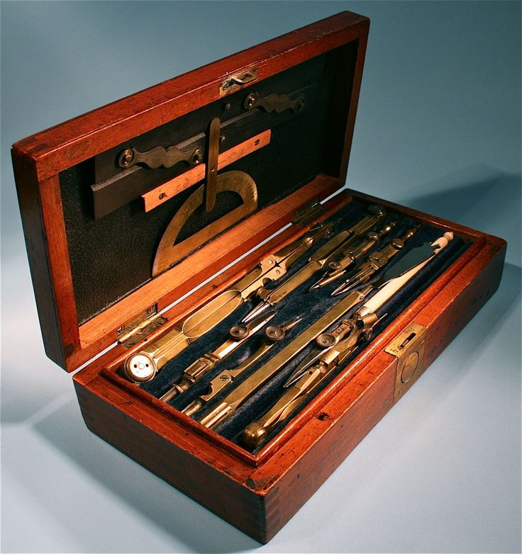 Woman's Old Box Set Of Drawing Measuring Dividers & Compass Tools - http://www.busaccagallery.com/catalog.php?catid=105&itemid=6371&page=1